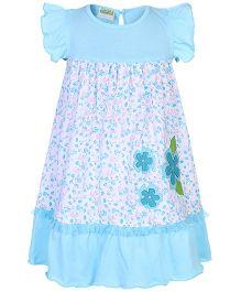 Babyhug Flutter Sleeves Frock Floral Applique - Sky Blue