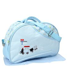 Mother Bag With Train Embroidery And Print - Sky Blue