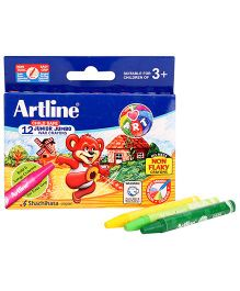 Artline Junior Jumbo Wax Crayons - 12 Colours