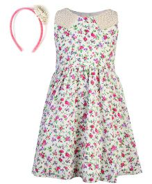 Gini & Jony Sleeveless Frock With Hair Band Floral Print - White