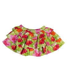 Babyhug Layered Skirt Butterfly Print - Green Base