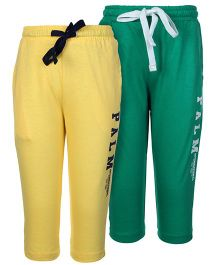 Palm Tree Full Length Track Pants Set Of 2 - Green And Yellow