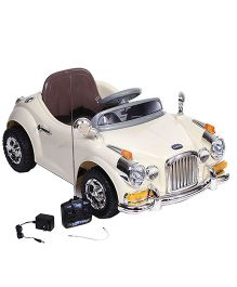 Babyhug Vintage Classic Car 6V Rechargeable Battery Operated Ride On - Cream