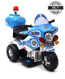Babyhug 6V Rechargeable Battery Operated Thunder Patrol Police Bike  - Blue