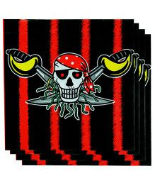 Partymanao Paper Napkin Pirates Print 20 Pieces - Red And Black
