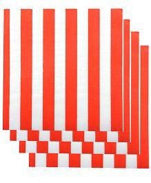 Partymanao Paper Napkin Stripes Print 20 Pieces - Reddish Orange And White