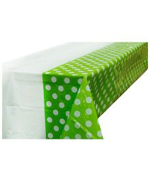 Partymanao Plastic Table Cover Polka Dots Print - Green