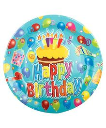Partymanao Paper Plates Happy Birthday Print - Green