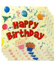 Smartcraft Paper Napkin Happy Birthday Theme 20 Pieces - Red And Light Yellow