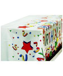 Partymanao Plastic Table Cover Happy Birthday Print - White