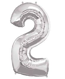 Partymanao Number 2 Foil Balloon - Silver