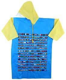 Reliable Full Sleeves Raincoat The World Flags Print - Yellow And Blue