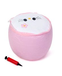 Inflatable Stool With Hand Pump Animal Design - Pink And Cream