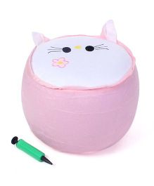 Inflatable Stool With Hand Pump Floral Motif - Pink And White