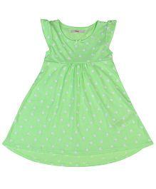 Fox Baby Short Sleeves Frock Apple Print - Green