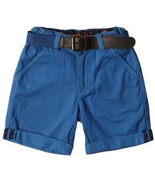 Super Young Three Fourth Shorts With Belt - Royal Blue