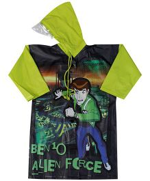 Ben 10 Full Sleeves Raincoat With Print - Green And Black