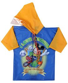 Mickey Mouse And Friends Full Sleeves Raincoat Print - Orange And Blue