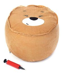 Inflatable Stool With Hand Pump Animal Face Design - Dark Brown