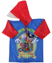 Micky Mouse And Friends Full sleeves Hooded Raincoat - Blue And Red
