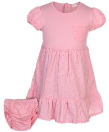 Fox Baby Half Sleeves Frock With Bloomer - Pink