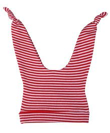Babyhug Double Knot Cap Stripes Print - White And Red