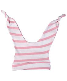 Babyhug Double Knot Cap Stripes Print - White And Pink