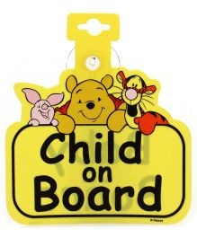 Mothercare Winnie The Pooh Double Sided Child On Board Sign - Yellow