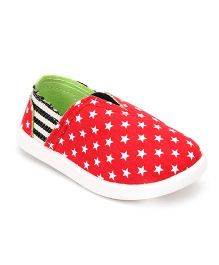 Cute Walk Casual Slip-On Shoes Star Print - Red