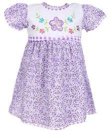 Babyhug Half Sleeves Frock Floral Embroidery - Purple