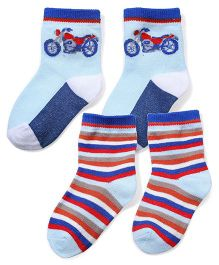 Little's Socks Bike And Stripe Design Pack Of 2 - Blue (Colors And Print May Vary)