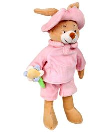 Play N Pets Infant Bear And Rabbit Pink And Brown - 25 cm