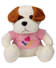 Play And Pets Dog With T-Shirt Soft Toy White - Height 25 cm