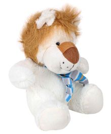 Play And Pets Lion Soft Toy With Scarf White - Height 20 cm