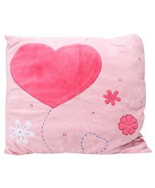 Play And Pets Square Cushion With Heart - Pink