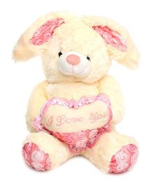 Play And Pets Bunny With Heart Soft Toy Cream - Height 40 cm