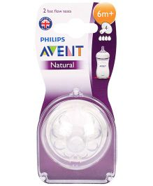Avent Silicone Natural Teat 4 Holes Fast Flow - Pack Of 2