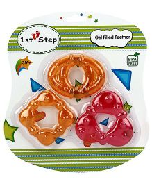 1st Step Gel Filled Teether Orange And Pink - Pack Of 3