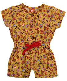 Yellow Duck Allover Circus Themed Print Jumpsuit - Yellow