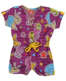 Yellow Duck Allover Sea Creatures Print Jumpsuit - Purple