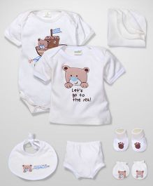 Babyhug Clothing Gift Set Teddy Print Pack Of 7 - Cream