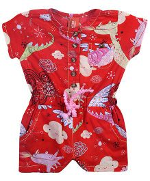 Yellow Duck Allover Dino Print Jumpsuit - Red