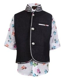 Little Bull Printed Shirt With Waistcoat - White And Black