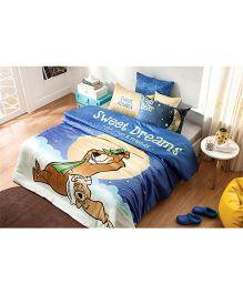 DCTex Furnishings 220 TC Cotton Yogi Bear Single Bed Sheet - Multicolour