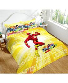 DCTex Furnishings 220 TC Cotton Justice League King Bed Sheet - Yellow