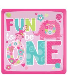 Wanna Party Square Paper Plates Pink Pack Of 8 - L 10 x B 10 inches