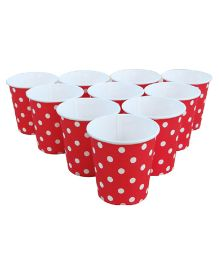 Wanna Party Paper Cups Polka Dots Red 9 oz - Pack Of 20