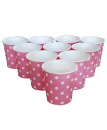 Wanna Party Paper Cups Polka Dots Pink 9 oz - Pack Of 20