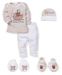 Babyhug Baby Gift Set Bear Print Brown - Pack of 5 Pieces