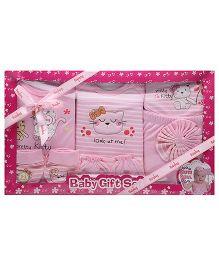 Babyhug Clothing Gift Set Stripe Pattern Pack Of 9 - Pink
